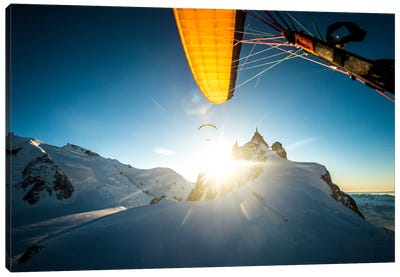 Sunset Flight I, Midi-Plan Ridge, Chamonix, Haute-Savoie, Auvergne-Rhone-Alpes, France Canvas Art Print