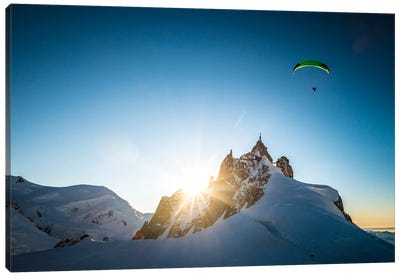 Sunset Flight II, Midi-Plan Ridge, Chamonix, Haute-Savoie, Auvergne-Rhone-Alpes, France Canvas Art Print