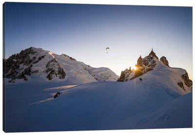 Sunset Flight III, Midi-Plan Ridge, Chamonix, Haute-Savoie, Auvergne-Rhone-Alpes, France Canvas Art Print