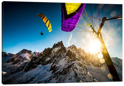 Sunset Flight, Vallee Blanche, Chamonix, Haute-Savoie, Auvergne-Rhone-Alpes, France Canvas Art Print