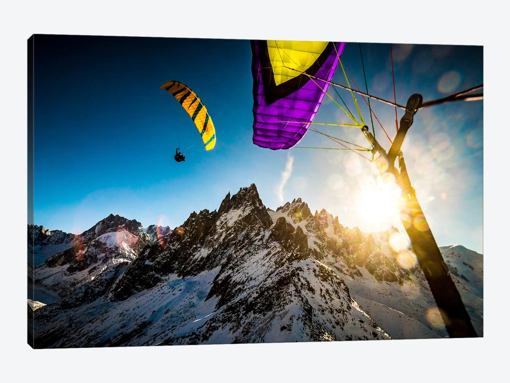 Sunset Flight, Vallee Blanche, Chamonix, Haute-Savoie, Auvergne-Rhone-Alpes, France by Alex Buisse 1-piece Canvas Print
