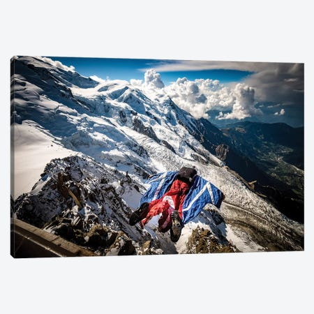 A Wingsuiter Base Jumps From Aiguille du Midi Toward Glacier des Bossons, Chamonix, France Canvas Print #ALX46} by Alex Buisse Canvas Wall Art