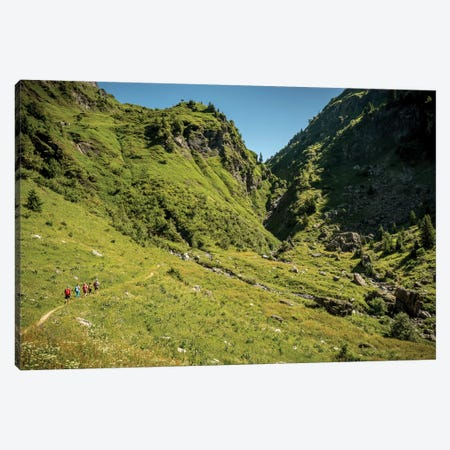 A Group Of Trekkers Near Col d'Anterne, Passy, Haute Savoie, France Canvas Print #ALX48} by Alex Buisse Art Print