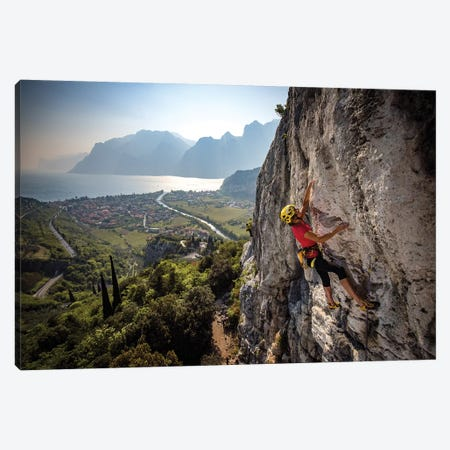 A Climber Above The Town Of Arco And Lago di Garda, Italy Canvas Print #ALX49} by Alex Buisse Canvas Print