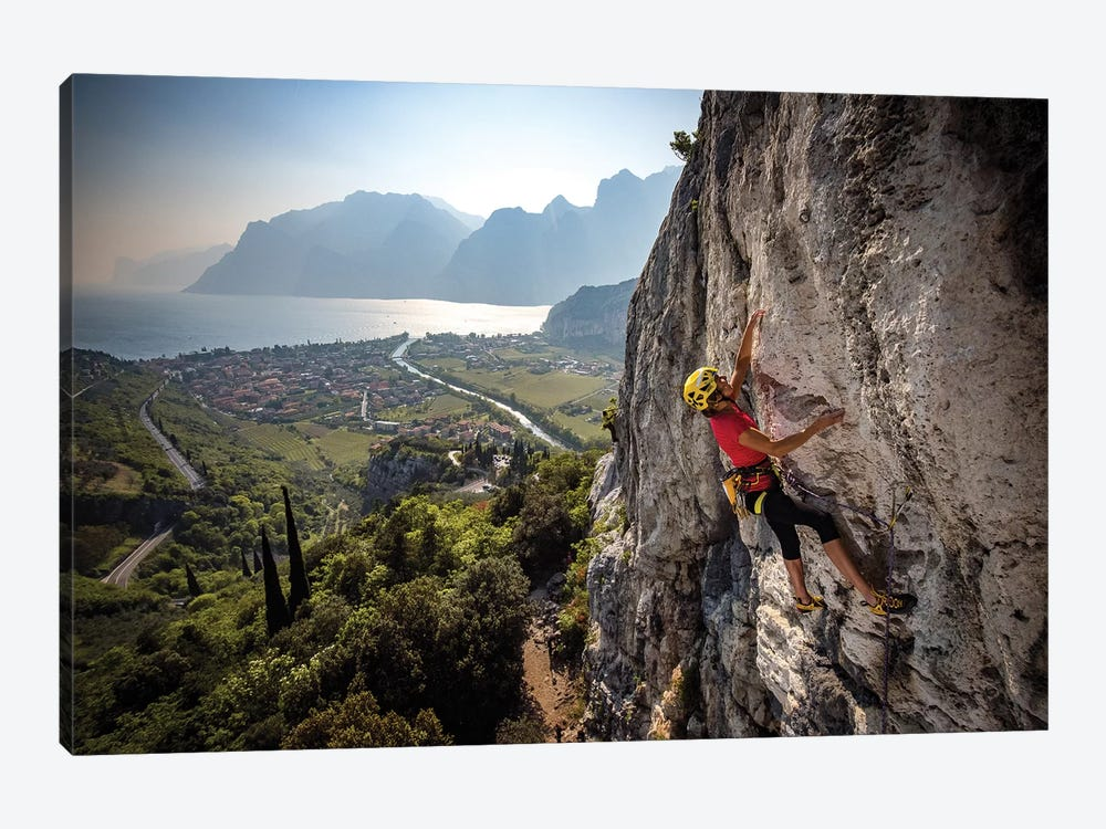 A Climber Above The Town Of Arco And Lago di Garda, Italy by Alex Buisse 1-piece Canvas Artwork