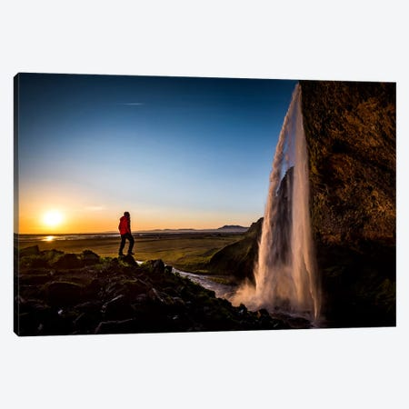 Admiring Nature's Beauty, Seljalandfoss, Sudurland, Iceland Canvas Print #ALX4} by Alex Buisse Canvas Artwork