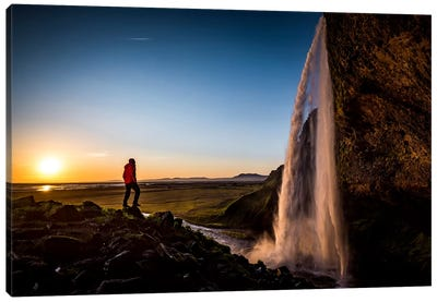 A Lone Figure In Front Of Seljalandfoss, Sudurland, Iceland, At Midnight Canvas Art Print
