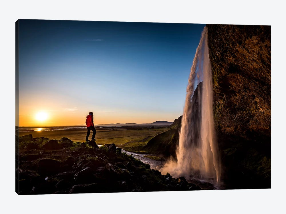 A Lone Figure In Front Of Seljalandfoss, Sudurland, Iceland, At Midnight 1-piece Art Print
