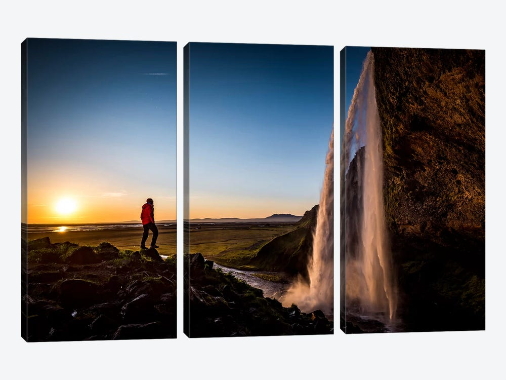 A Lone Figure In Front Of Seljalandfoss, Sudurland, Iceland, At Midnight 3-piece Art Print