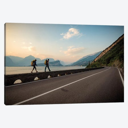 Two Climbers Walk Home Next To A Road And Lago di Gardo, Arco, Trentino, Italy Canvas Print #ALX50} by Alex Buisse Canvas Art