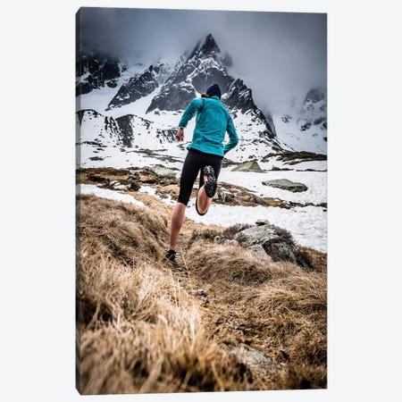A Trail Runner In Plan de l'Aiguille, Chamonix, France Canvas Print #ALX52} by Alex Buisse Canvas Art