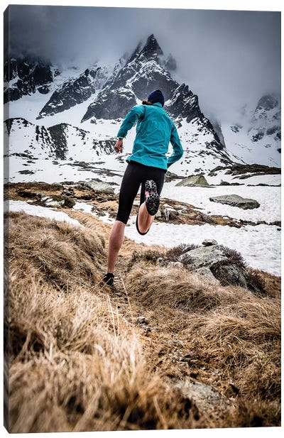A Trail Runner In Plan de l'Aiguille, Chamonix, France Canvas Art Print