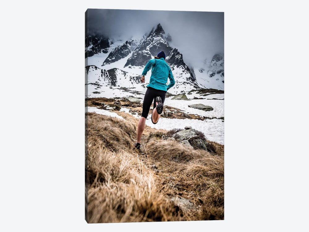 A Trail Runner In Plan de l'Aiguille, Chamonix, France by Alex Buisse 1-piece Canvas Art