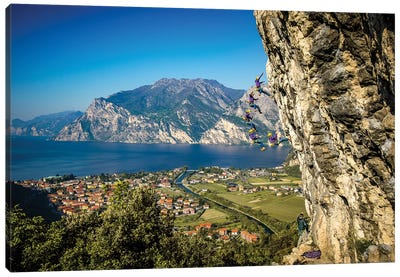 Action Sequence Of A Climbing Fall Above Arco, Trentino, Italy Canvas Art Print