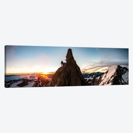 A Climber At Sunrise On Aiguille du Chardonnet, Chamonix, France Canvas Print #ALX56} by Alex Buisse Art Print
