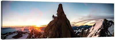 A Climber At Sunrise On Aiguille du Chardonnet, Chamonix, France Canvas Art Print