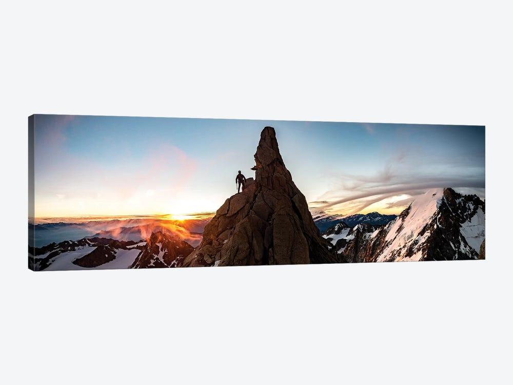 A Climber At Sunrise On Aiguille du Chardonnet, Chamonix, France by Alex Buisse 1-piece Canvas Artwork