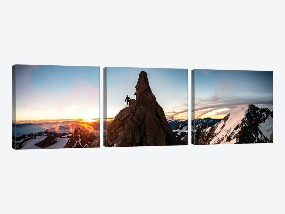 A Climber At Sunrise On Aiguille du Chardonnet, Chamonix, France by Alex Buisse 3-piece Canvas Wall Art