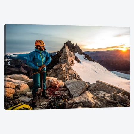 A Climber Prepares His Equipment On Aguja Guillaumet, Patagonia, Argentina Canvas Print #ALX5} by Alex Buisse Canvas Art