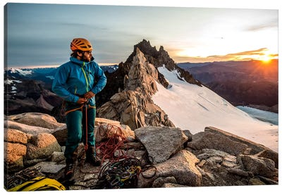 A Climber Prepares His Equipment On Aguja Guillaumet, Patagonia, Argentina Canvas Art Print