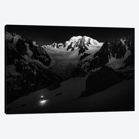 A Climber On Glacier du Moine, With Mont Blanc In The Background, Chamonix, France Canvas Print #ALX63} by Alex Buisse Canvas Art Print