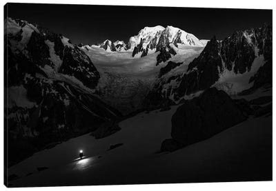 A Climber On Glacier du Moine, With Mont Blanc In The Background, Chamonix, France Canvas Art Print