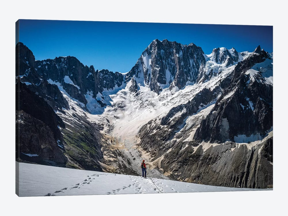 A Climber On Glacier du Moine, With Grandes Jorasses In The Background, Chamonix, France by Alex Buisse 1-piece Canvas Art Print