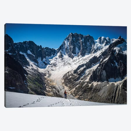 A Climber On Glacier du Moine, With Grandes Jorasses In The Background, Chamonix, France Canvas Print #ALX64} by Alex Buisse Canvas Artwork