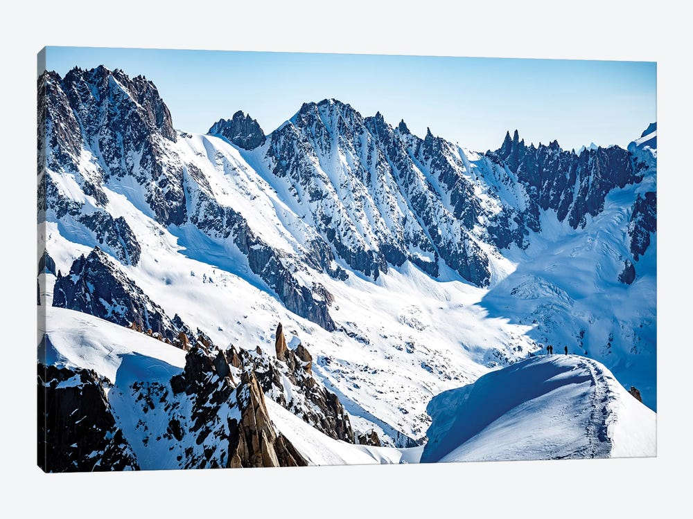 Two Climbers On Midi-Plan Ridge, Chamonix, France by Alex Buisse 1-piece Canvas Wall Art