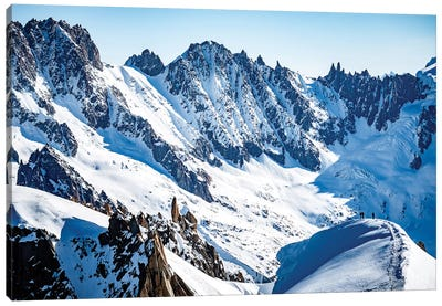 Two Climbers On Midi-Plan Ridge, Chamonix, France Canvas Art Print