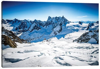 Aerial View Of Vallée Blanche And Grandes Jorasses, Chamonix, France Canvas Art Print