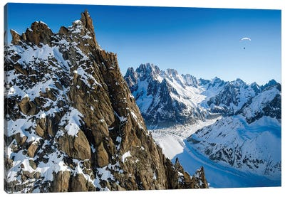 A Paraglider Above Vallée Blanche, Chamonix, France - I Canvas Art Print