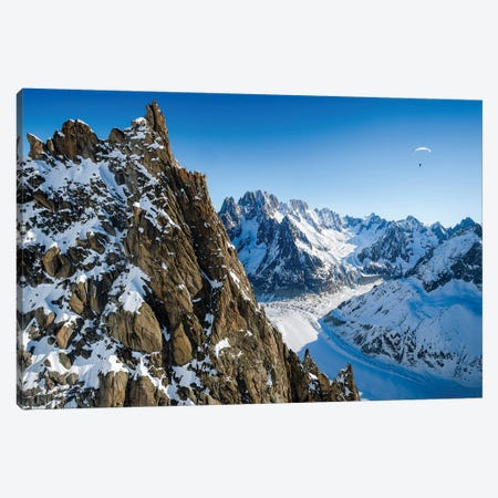 A Paraglider Above Vallée Blanche, Chamonix, France - I Canvas Print #ALX67} by Alex Buisse Canvas Wall Art