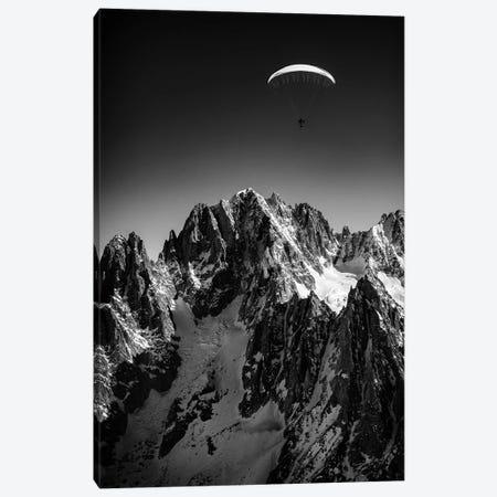 A Paraglider Above Vallée Blanche, Chamonix, France - II Canvas Print #ALX68} by Alex Buisse Art Print