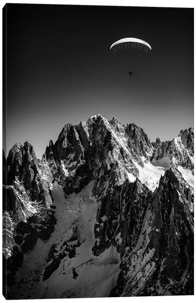 A Paraglider Above Vallée Blanche, Chamonix, France - II Canvas Art Print