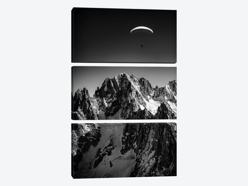 A Paraglider Above Vallée Blanche, Chamonix, France - II by Alex Buisse 3-piece Canvas Print