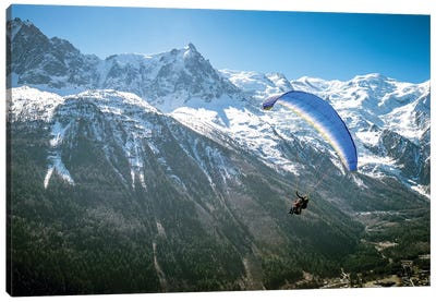 A Paraglider Above The Chamonix Valley, France - I Canvas Art Print