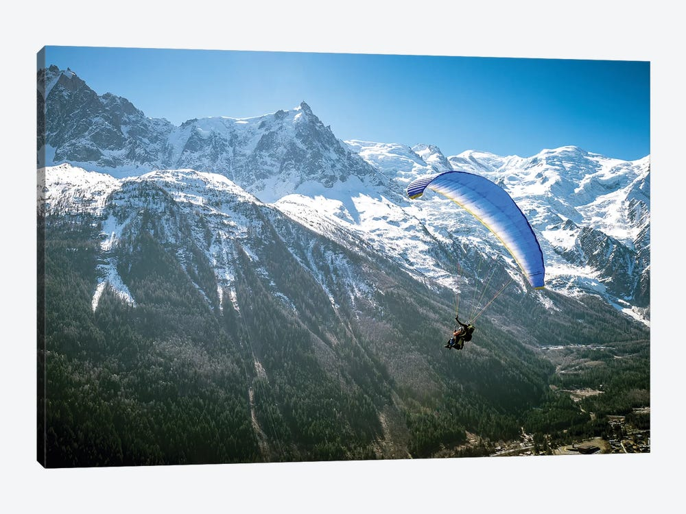 A Paraglider Above The Chamonix Valley, France - I by Alex Buisse 1-piece Canvas Wall Art