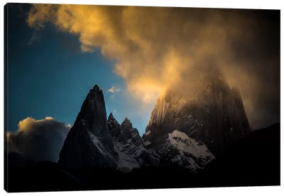 Aguja Poincenot & Cerro Fitz Roy, Patagonia, Argentina Canvas Art Print