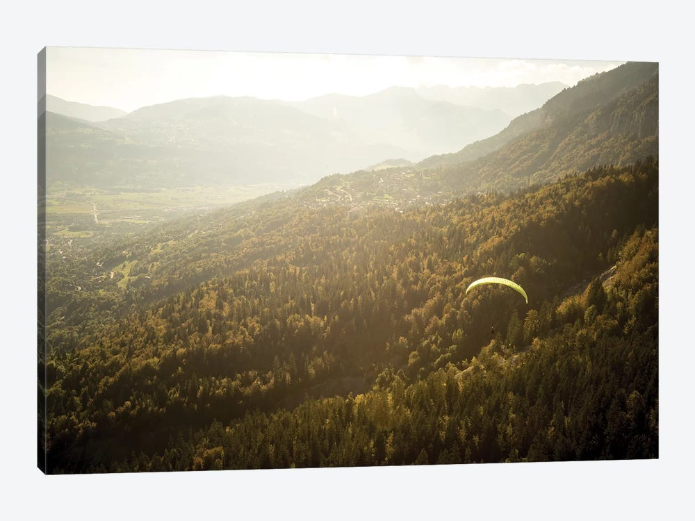A Paraglider Above The Chamonix Valley, France - II 1-piece Canvas Art