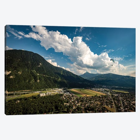 A Paraglider Above The Passy Valley, Haute Savoie, France Canvas Print #ALX71} by Alex Buisse Canvas Wall Art