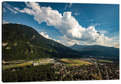 A Paraglider Above The Passy Valley, Haute Savoie, France Canvas Art Print