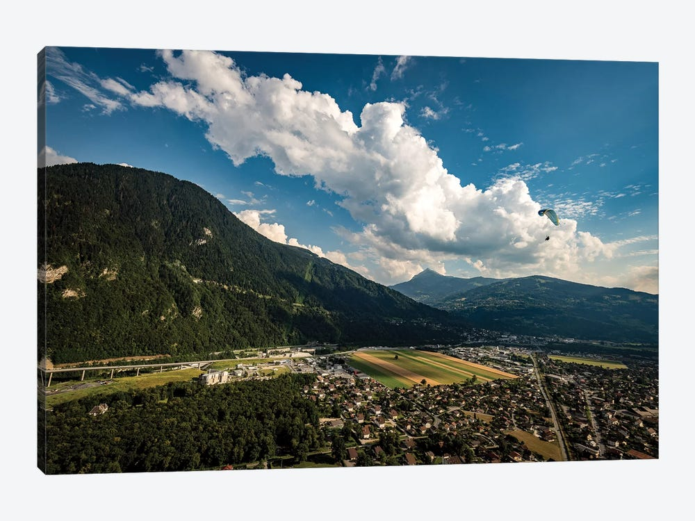 A Paraglider Above The Passy Valley, Haute Savoie, France by Alex Buisse 1-piece Art Print