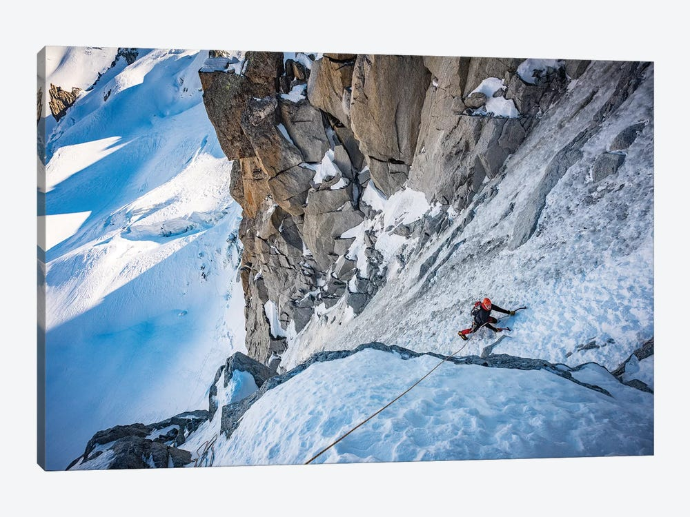 A Climber On The North Face Of Tour Ronde, Chamonix, France - I by Alex Buisse 1-piece Canvas Wall Art