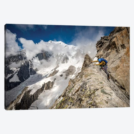 A Climber On Tour Ronde, Chamonix, France - II Canvas Print #ALX76} by Alex Buisse Art Print