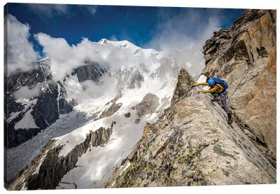 A Climber On Tour Ronde, Chamonix, France - II Canvas Art Print