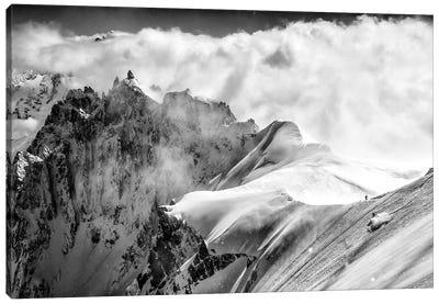 A Skier On The Midi-Plan Ridge, Chamonix, France Canvas Art Print