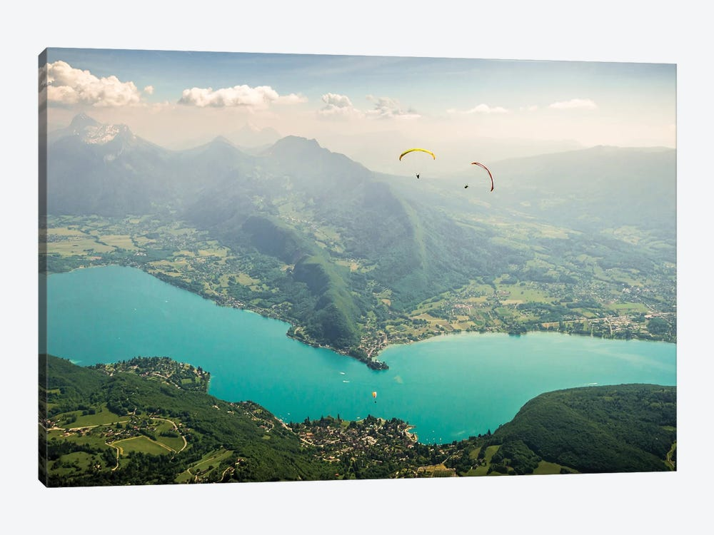 Two Paragliding Pilots Above The Annecy Lake, Haute Savoie, France by Alex Buisse 1-piece Canvas Print