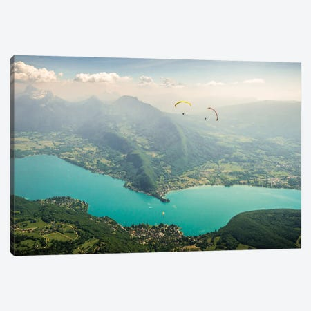 Two Paragliding Pilots Above The Annecy Lake, Haute Savoie, France Canvas Print #ALX80} by Alex Buisse Canvas Art Print