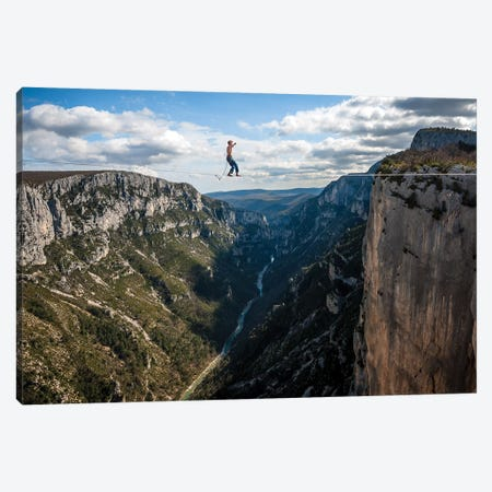 A Highliner In Verdon Gorges, Hundreds Of Meters Above The Ground, Paca, France Canvas Print #ALX83} by Alex Buisse Art Print
